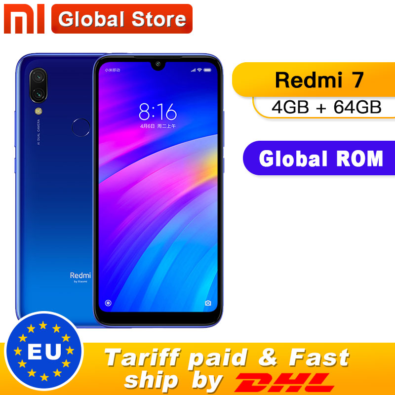 Xiaomi Redmi 7 4GB 64GB Redmi7 Smartphone Snapdragon 632 Octa Core Mobile phone 12MP Camera Phone 4000mAh 6.26'' Full screen
