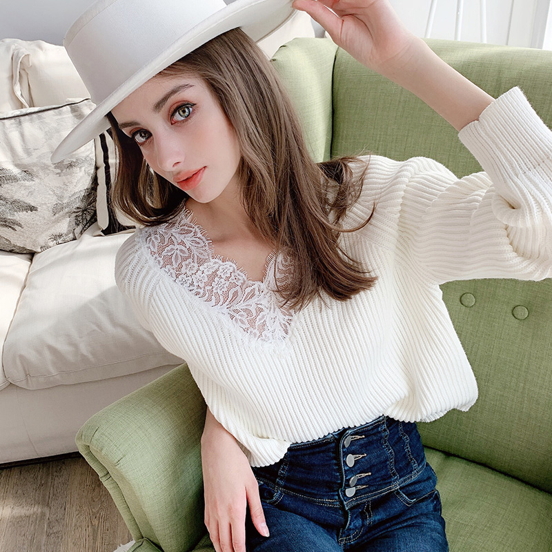 Dabuwawa Romantic Lace V Neck Casual Pullover Sweater Women Tops Streetwear Long Sleeve Basic Ladies Sweaters Female DT1AKT002