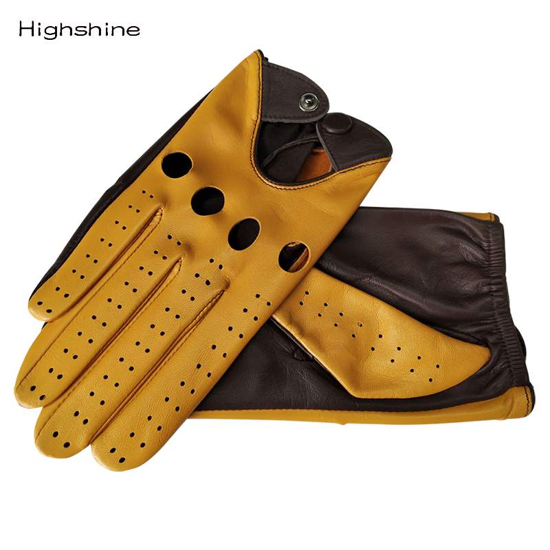 HIGHSHINE <font><b>mens</b></font> Genuine <font><b>Leather</b></font> <font><b>Gloves</b></font> Male Breathable Goatskin <font><b>Thin</b></font> Spring Summer Autumn Driving Anti-skid Mittens <font><b>Men</b></font> <font><b>Gloves</b></font> image