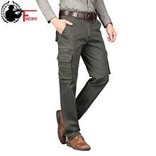 Pantalones Cargo de estilo militar para hombre, pantalones de Corte recto tácticos con muchos bolsillos, de algodón, para otoño y primavera
