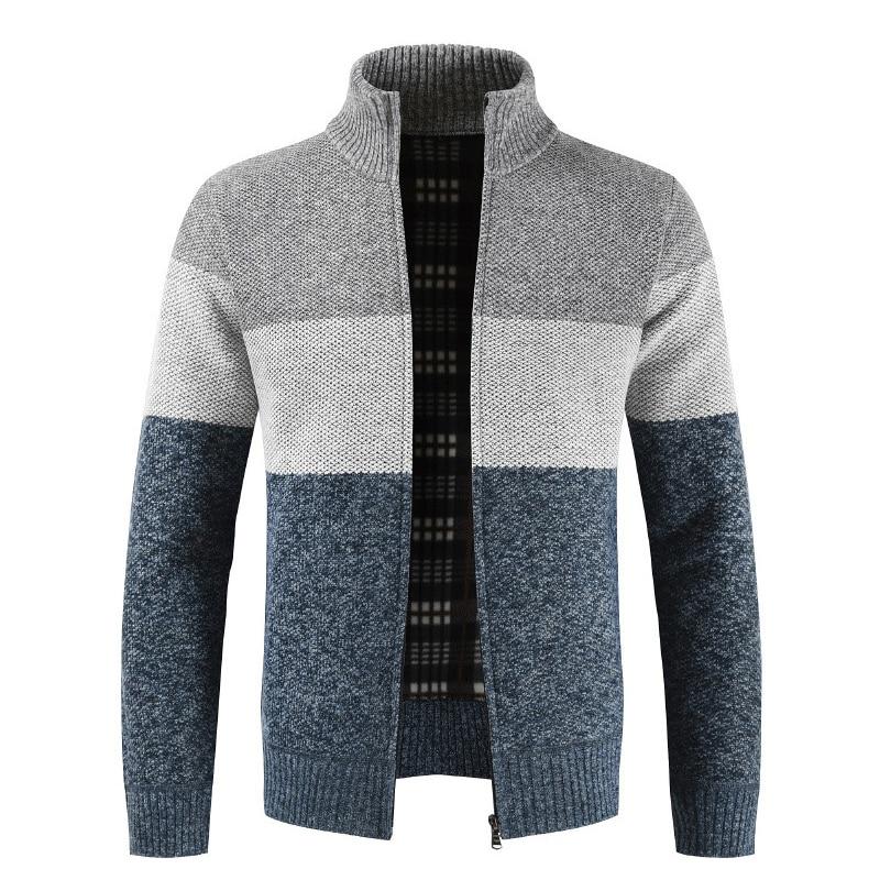 Fashion Autumn Winter Sweater Men Patchwork Stand Collar Fleece Warm Windbreaker Cardigan Men Sweatercoat M-XXXL