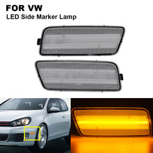 2PCS Amber Clear LED Side Marker Turn Signal Light Lamp For VW for GTI 2.0T 2010-2014 Side Marker Lamp Car Accessories 2010 2016 side mirror lamp for dodge caravan town country turn signal lamp for chrysler grand voyager marker lamps for ram c v
