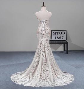 Image 2 - MTOB הכי חדש תחרת בת ים חתונת שמלת Applique עמוק מתוקה ללא משענת שמפניה כלה שמלות