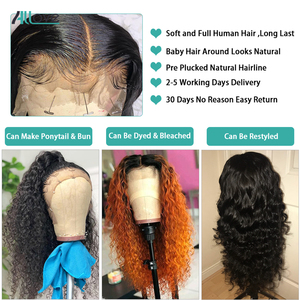 Image 4 - Allove Peruvian Deep Wave Wig 13X4 Lace Front Human Hair Wigs 13X6X1 Lace Part Wig Human Hair Deep Curly Wigs For Black Women