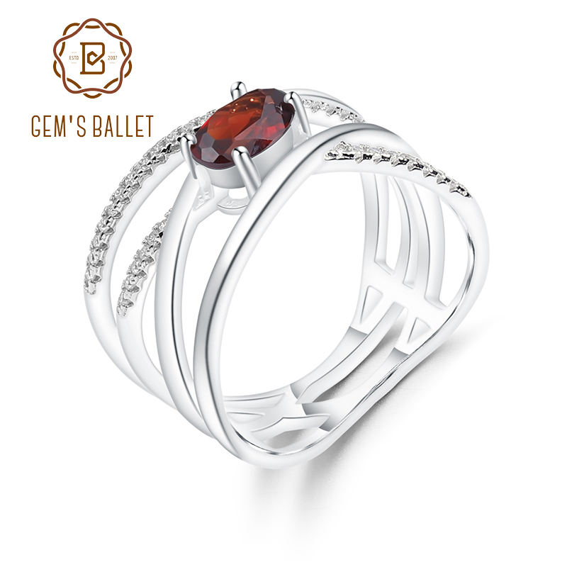 GEM'S BALLET Criss-Cross Pavé Natural Red Garnet Ring in 925 Sterling Silver Gemstone Ring For Women Fine Jewelry (0.95Ct Oval)