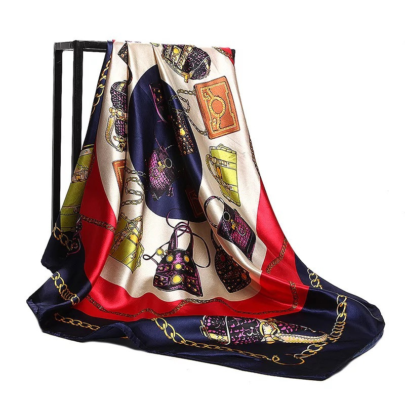 2020 Silk Scarves Fashion 90cm Square Hijab Scarf Female Ladies Chiffon Shawl Bandanna Wrap Muffler Pareo Foulard Free Shipping