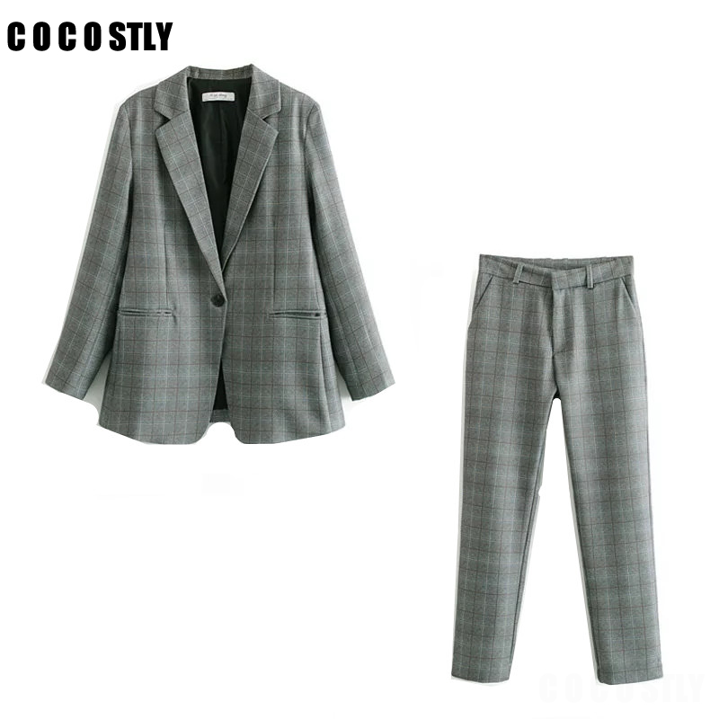 Business Pant Suits Women Blazer Suit Blank High Quality Set Blazers Formal Women OL Elegant Plaid 2 Piece Sets Uniform Jacket