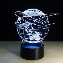 3d иллюзия визуальсветильник земляной самолет настольная лампа
