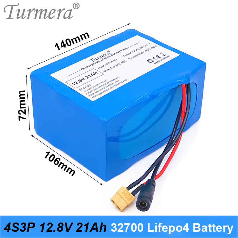 Turmera 32700 4S3P 12.8 в LiFePO4 аккумулятор 21Ah 4С 40А сбалансированный BMS для электрический лодка и источник бесперебойного питания 12В XT90