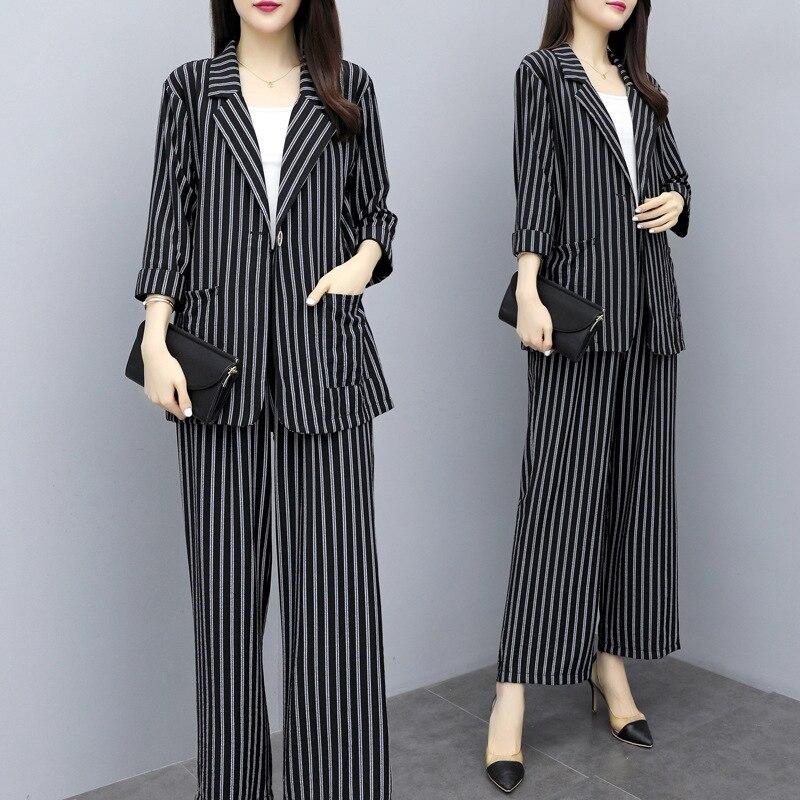 2019 Suit Female Women Office Suit Jacket Pants Set New Fashion Autumn Striped Suit Jacket + Wide Leg Pants Two-piece Suit Z207 thumbnail