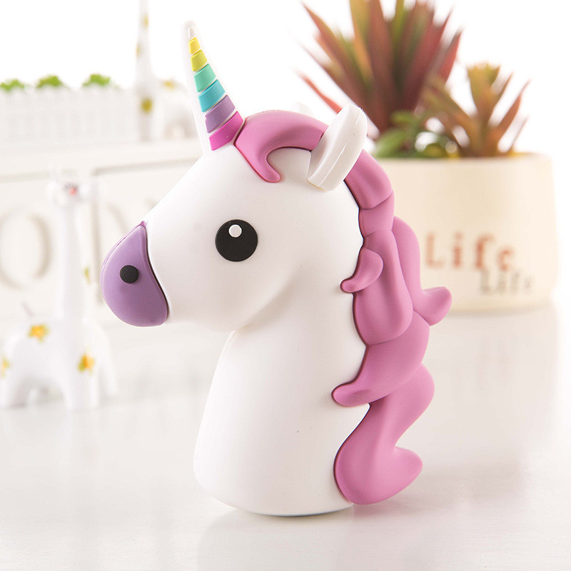Portable Unicorn Cartoon Battery Charger 2000mAh Power Bank For IPhone 11 Samsung Note 10 Xiaomi Huawei Backup Battery Charger