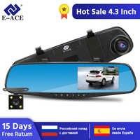 E-ACE Full HD 1080P voiture Dvr caméra Auto 4.3 pouces rétroviseur numérique enregistreur vidéo double lentille caméscope d'enregistrement
