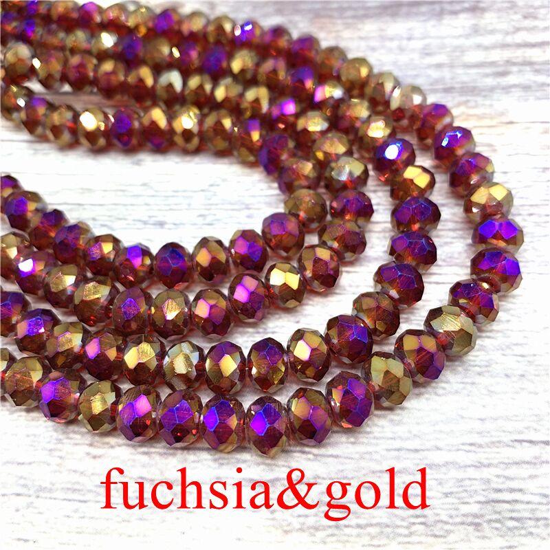 2X3/3X4/4X6/6X8 мм хрустальные бусины AB разноцветные стеклянные бусины Sapcer для ювелирных изделий ручное кольцо Ожерелье Изготовление DIY - Цвет: Fuchsia-Gold