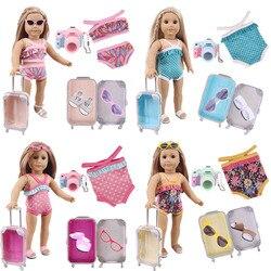 Super Acessível! 5 Pçs/set (Maiô + Mala +...) Ajuste 18 Polegada boneca americana & 43 cm roupas de boneca de bebê, nossa geração, brinquedo da menina
