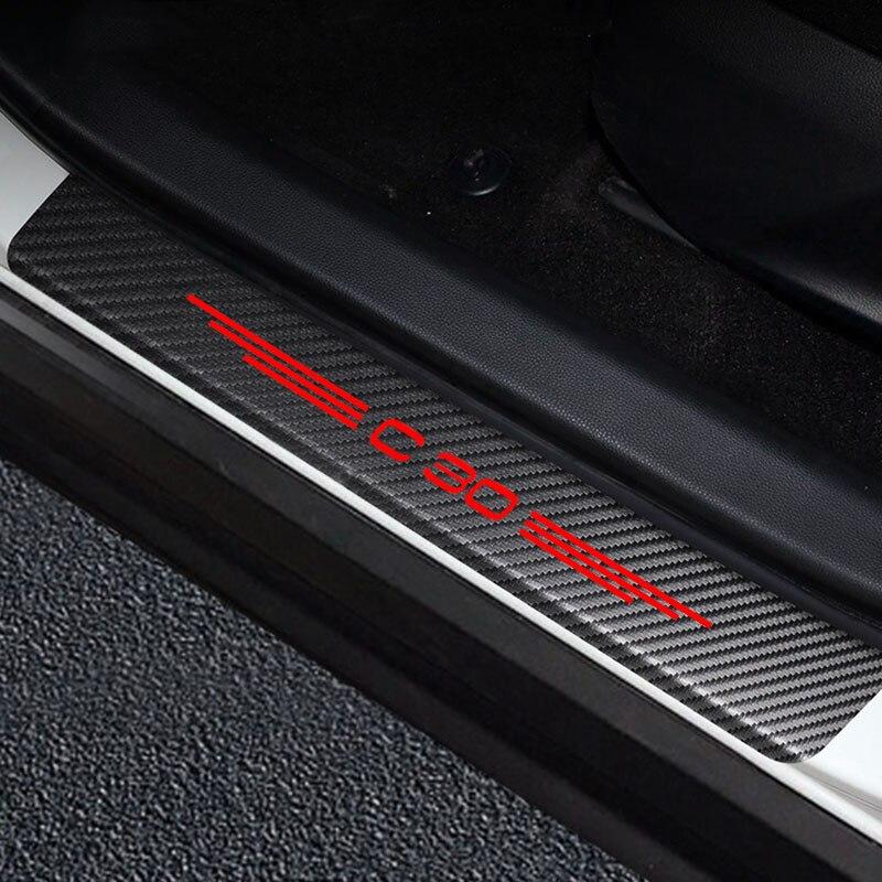 Автомобильные наклейки на порог двери, Виниловый протектор для VOLVO C30, Накладка на порог автомобиля, защитная накладка, аксессуары для декор...