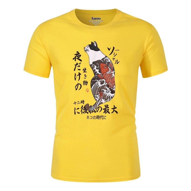 2020 T-shirt Men Hip Hop Japanese Ukiyo E Cat Harajuku T-shirt Streetwear T-shirt Casual Summer Tops Short Sleeve Japanese Style