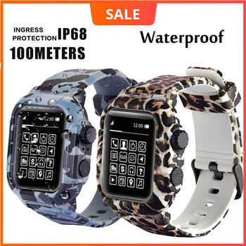 Dive Waterproof Sports Band Case Cover for Apple Watch Case Series 6 5 4 3 2 Silicone Band 44mm 42mm 40mm Strap Shockproof Frame