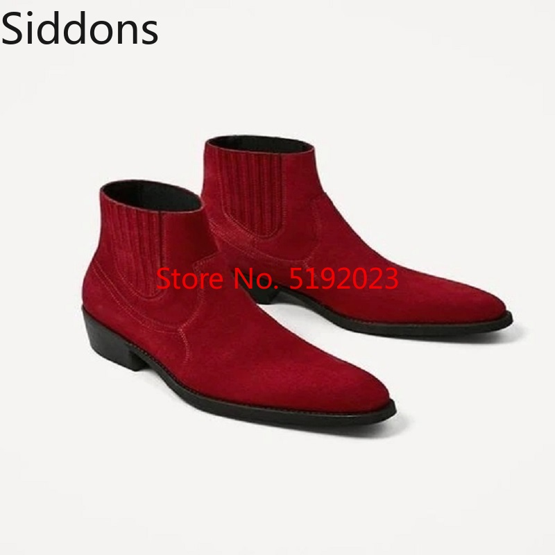 Winter Boots Men's Red Elastic Easy To Wear Off Chelsea Boots Pointed Toe Bota Coturnos Masculino Zapatos De Hombre  D184