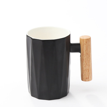 Nordic Simple Ceramic Coffee Mug Wooden Handle Plain White Coffee Mugs for Couple Taza De Cafe Japanese Milk Mug Vintage HH50MK