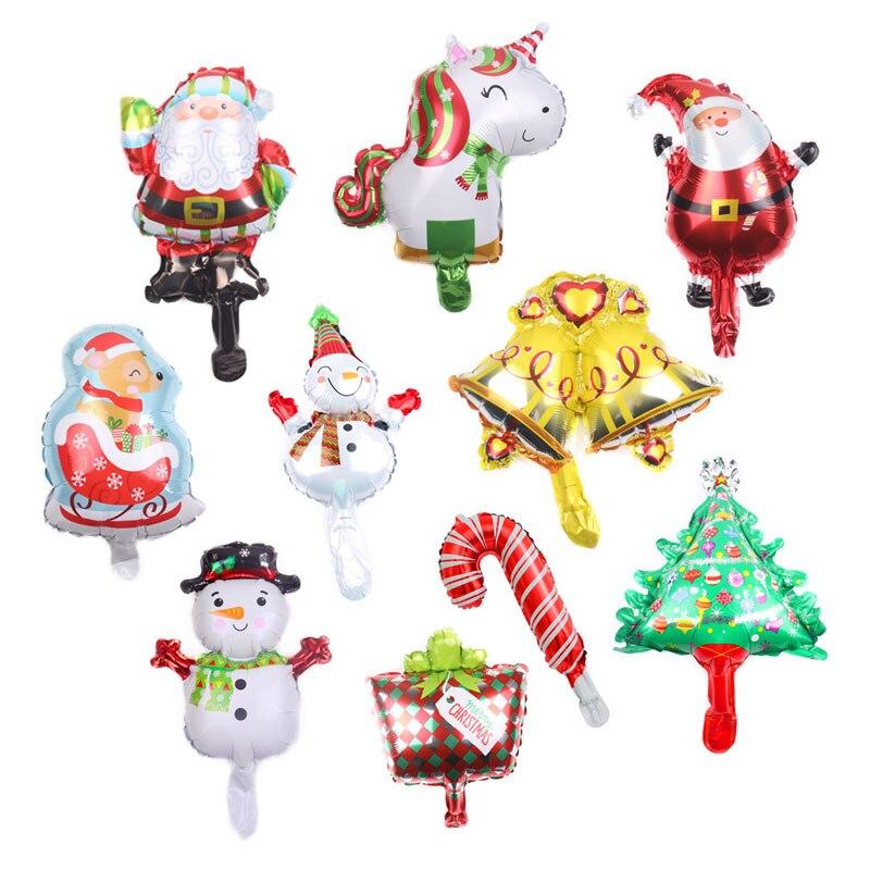 10 шт. Мини Рождественские шары, воздушные шары Санта-Клауса, рождественские украшения, снеговик, Globos Noel Bell, детские надувные игрушки