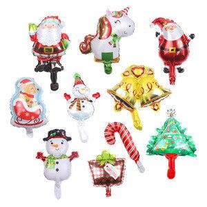 10pcs Mini Christmas Balloons Santa Claus Air Balloons Christmas Decorations Snowman Globos Noel Bell Children's Inflatable toys(China)