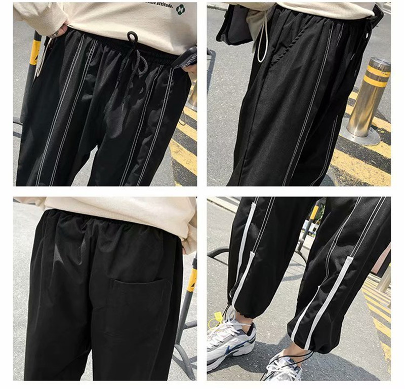 Summer Loose Casual Ankle-Length Pants Thin Men`s Women Jogger Pants Fashion Teens Boys Girls Joggers Sports Striped Trousers (11)