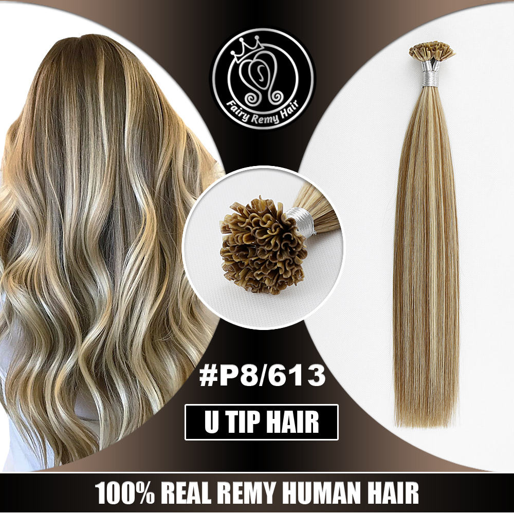 Keratin Hair On Capsules Real Remy European Human Nail Tip Hair Extensions P8/613 Color Fairy Remy Hair 0.8g/s 16