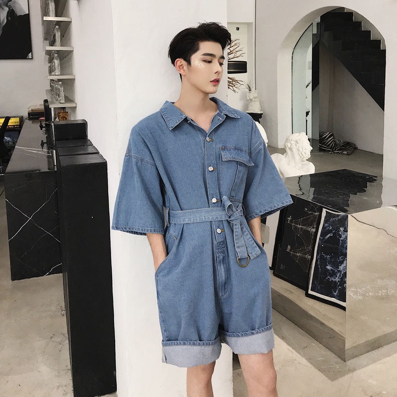 New Summer Men Short Sleeve Jean Jumpsuits Fashion Single Breasted Denim Playsuits Streetwear Loose Fit Knee Length Jumpsuit
