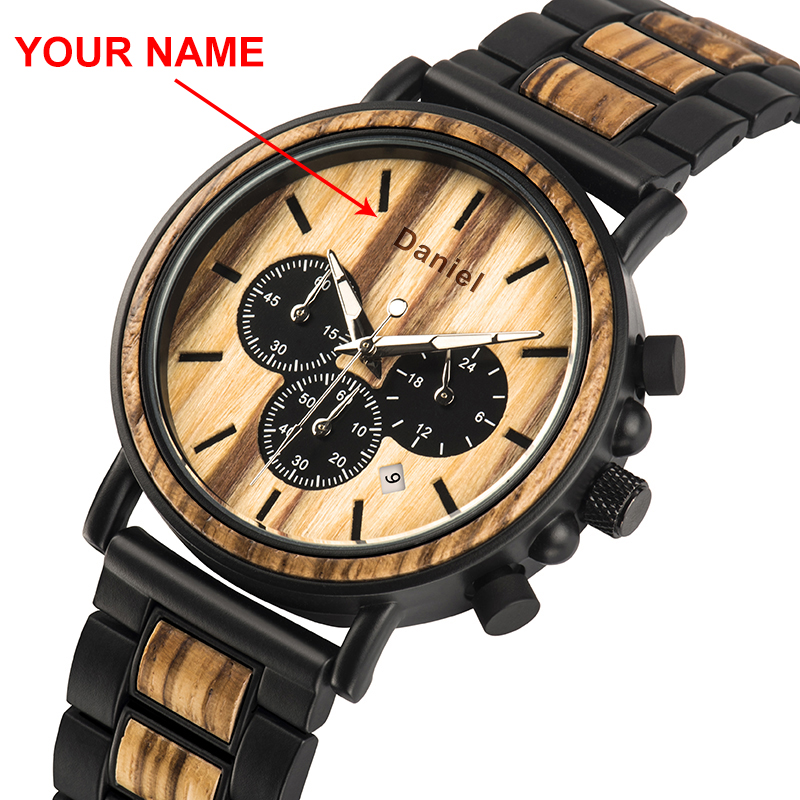 Watch Men BOBO BIRD Wood Cutomize Name Stainless Steel Mens Chronograph Wristwatches Luminous Stopwatch Valentine's Day Present