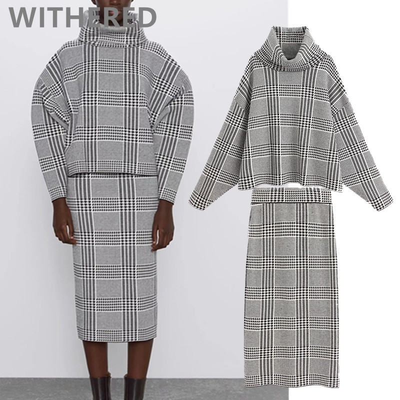 Withered 2020 Spring England Office Lady Simple Plaid Turtleneck Sweaters Skirt Women Faldas Long Skirts Womens 2 Pieces Set Top