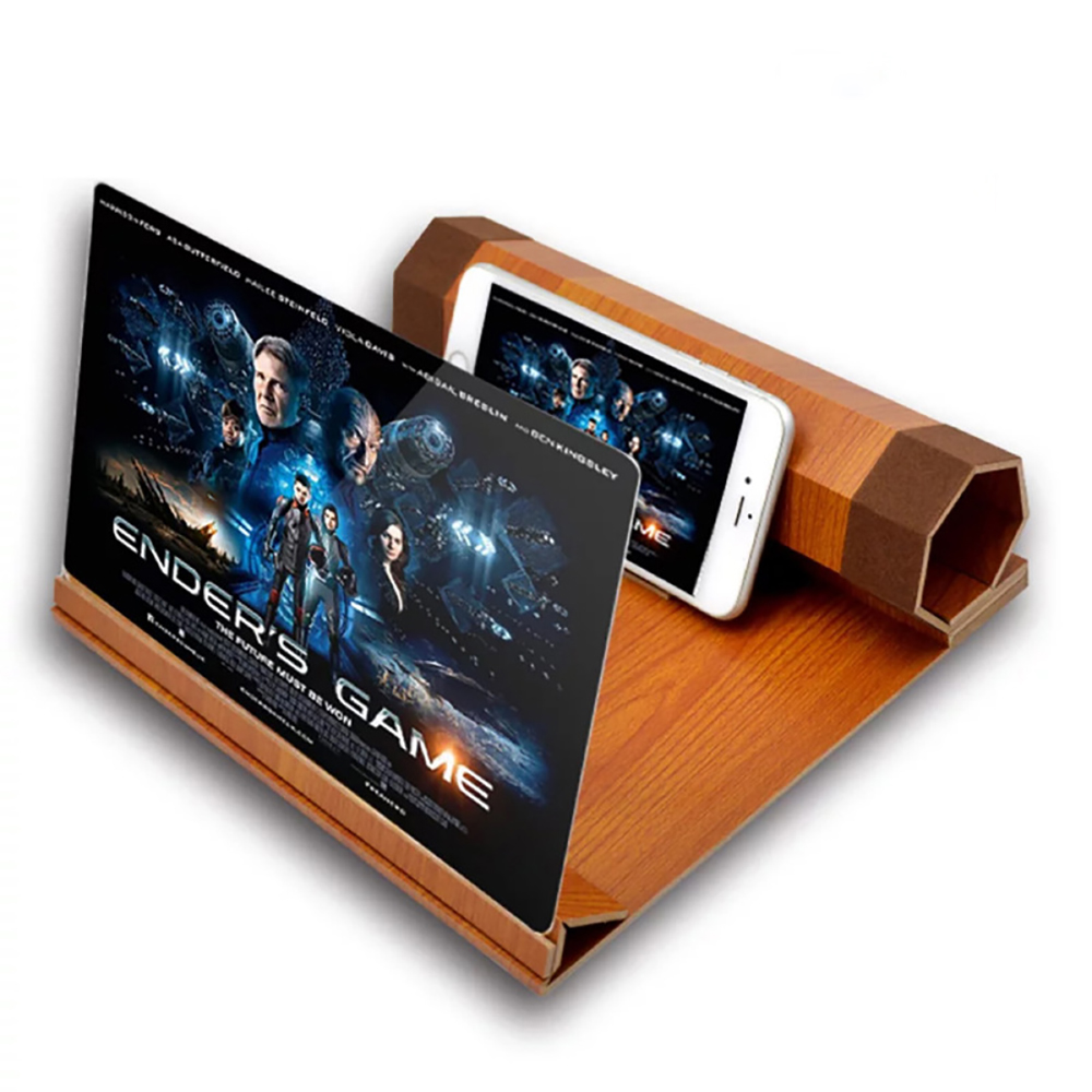 3D Magnifying Mobile Phone Movie Amplifier Collapsible Bracket for All Smartphone Wood AOX Auxiliary Supplies HD Mobile Screen Magnifier