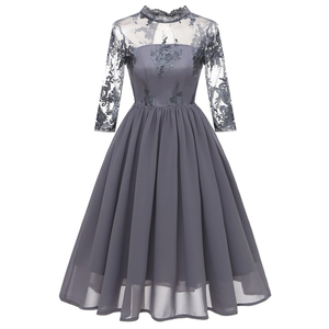 Floral Embroidery Mesh Big Swing Party Women Dresses Lace neck Chiffon Vintage Fit & Flare Dress Elegant Evening Party Dress