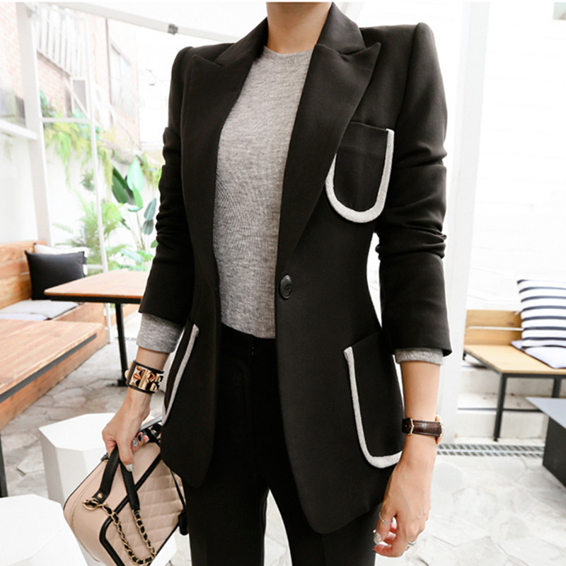 2019 Runway Women's Suit 2 Pieces Set Autumn Elegant Fashion Single Button OL Notched Bussines Office Lady Blazer Pants Suits