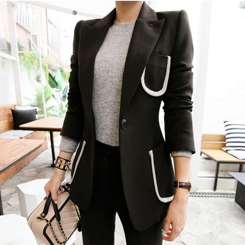 2019 Runway Women's Suit 2 Pieces Set Autumn Elegant Fashion Single button OL Notched Bussines Office Lady Blazer Pants Suits