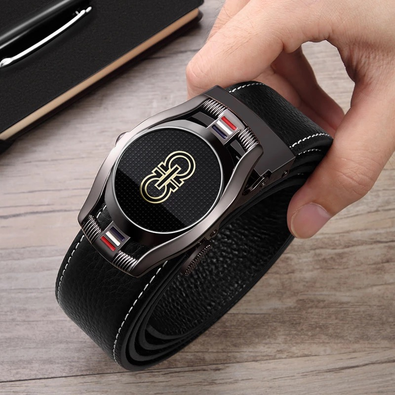 Belt Men Genuine Leather  Young Fashion Design Jeans Belt Cowhide Black Automatic Buckle Luxury Brand New Male Belts 18319P