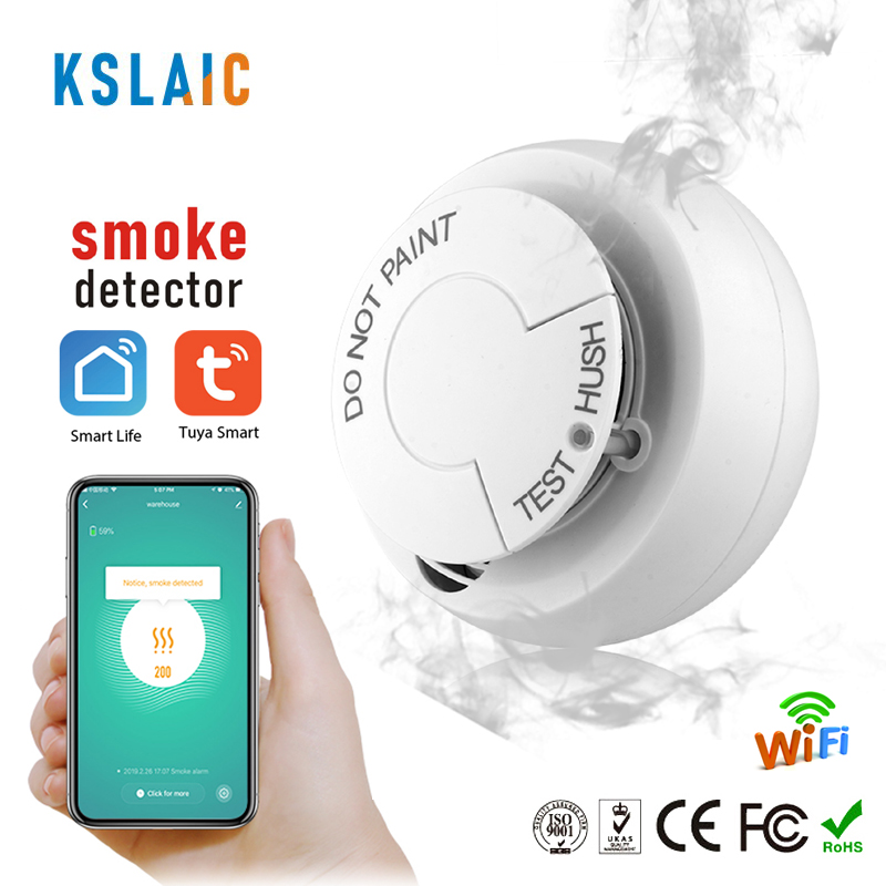 Smoke Detector Wireless Fire Sensor Wifi For Office Home Security Highly Sensitive Alarm Systems Tuya Smart Life Smoke Sensor