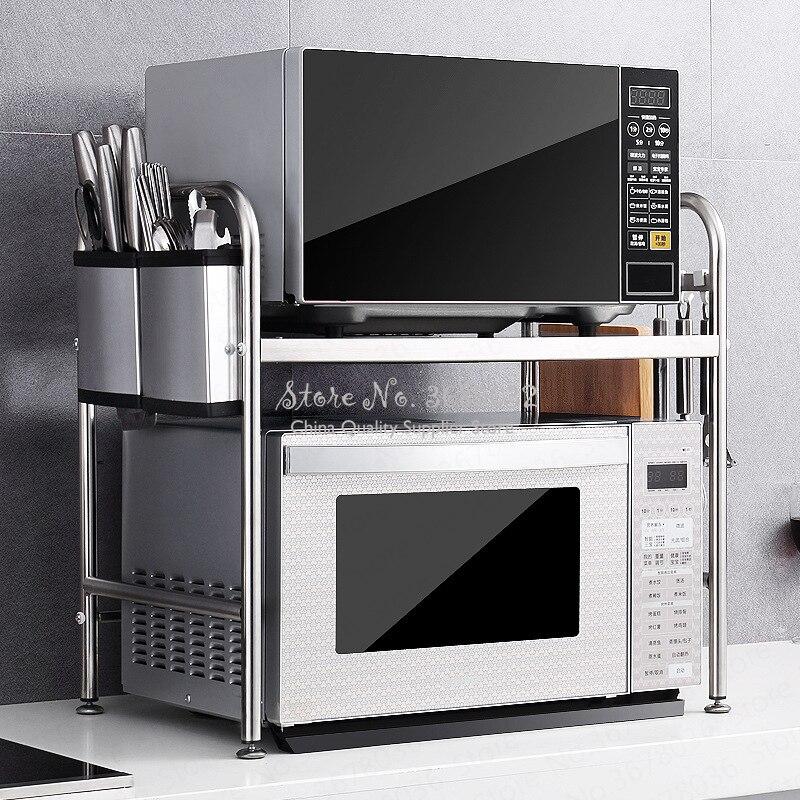 Haute qualité en acier inoxydable 3 couches support micro-ondes four étagère cuisine électrique four étagère Double ustensiles de stockage