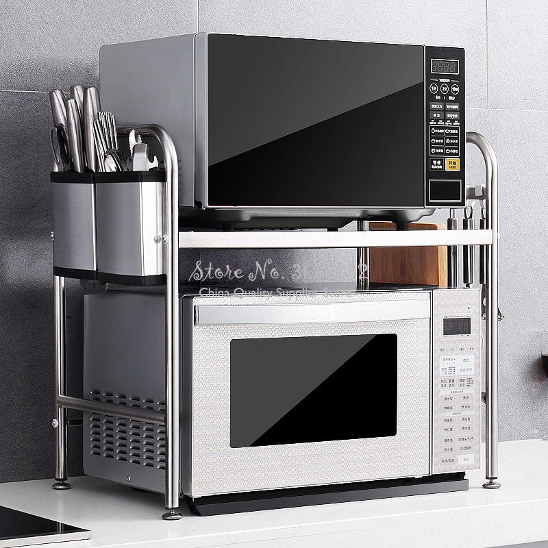 High Quality Stainless Steel  3 Layer Rack Microwave Oven Rack Kitchen Electrical Oven Shelf Double Utensils Storage