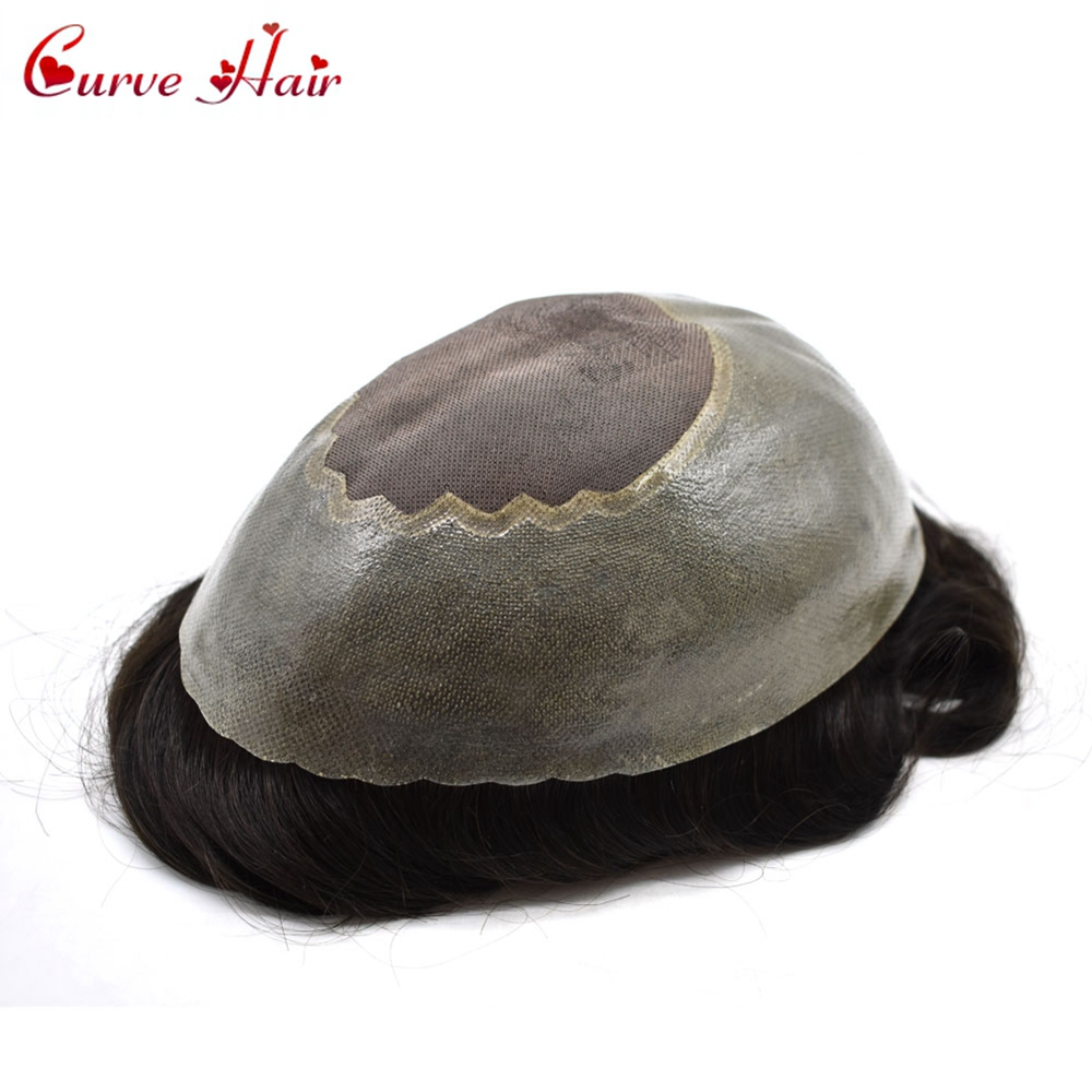 Curve Hair Fine Mono Toupee For Men Thin Skin Wigs Light Density 100% Human Hair System All Hand Tied Skin Hairpiece For Men