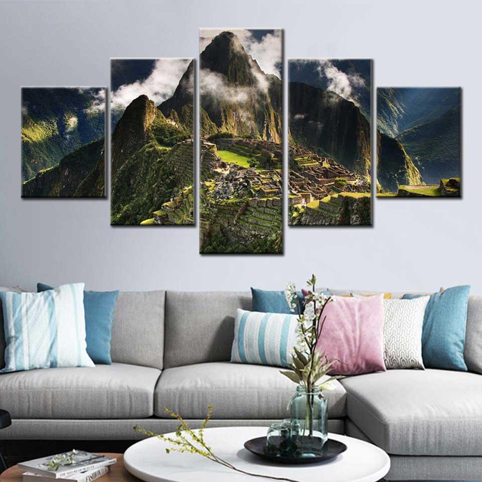 Machupicchu Natural Landscape 5 Pcs Canvas Wall Room Home Decorating Poster