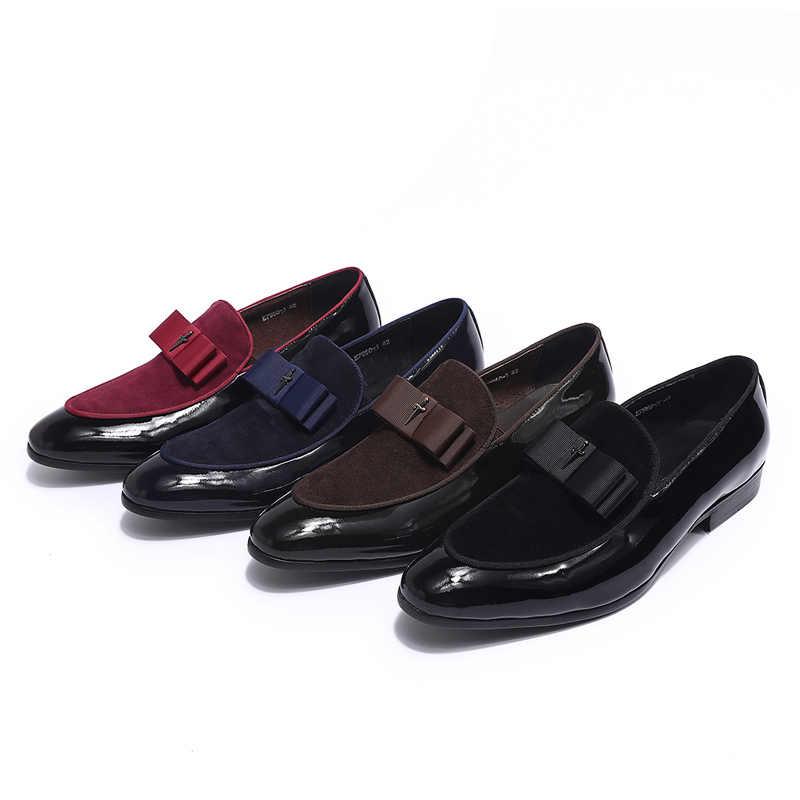 Cuero genuino hecho a mano y retazos de cuero nobuck con pajarita hombres boda zapatos de vestir negros mocasines de banquete para hombre