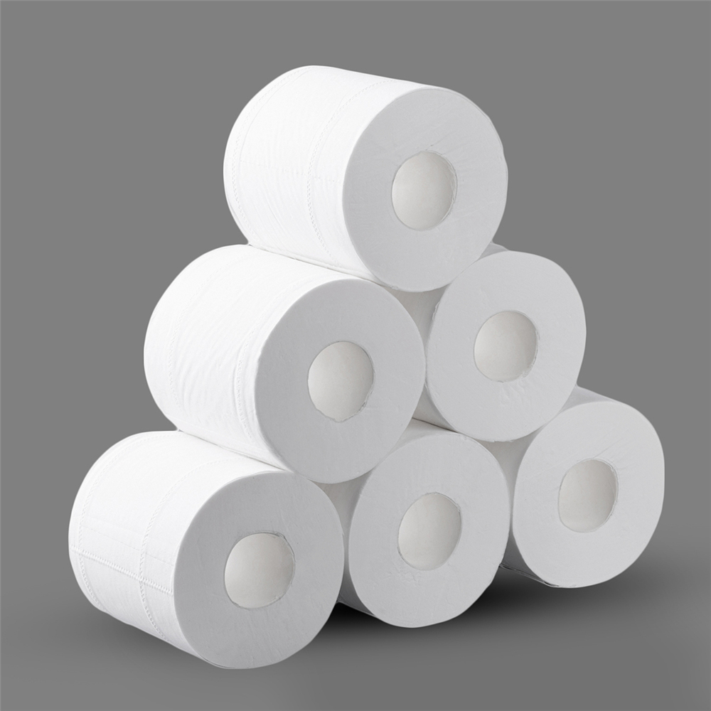 10 Rolls 4 Ply Toilet Paper Bath Tissue Bathroom Soft Household Wood Pulp Lint-free Comfortable Sanitary Toilet Paper Tissue