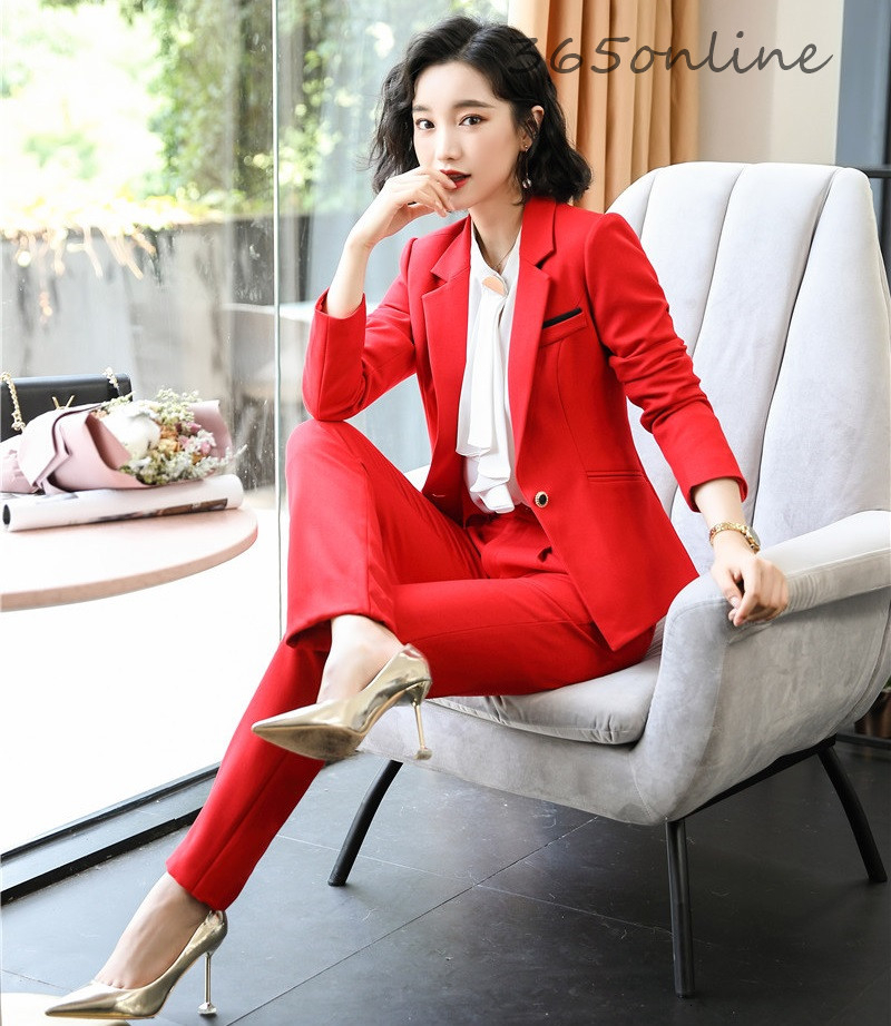 Formal Uniform Designs Pantsuits For Women Business Work Wear With 2 Piece Sets Pants And Jackets Coat Ladies Office Blazers Set
