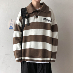 Winter Sweater Men Warm Fashion Contrast Color Casual Striped Knit Sweaters Man Sweter Clothes Loose Long-sleeved Pullover Men