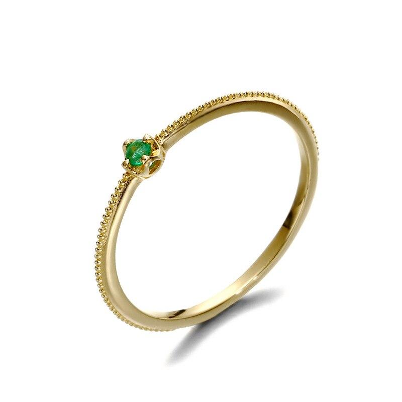 Rétro élégant 9K réel jaune solide véritable or émeraude pierres précieuses anneaux bandes pour femmes fille chaude gothique fantaisie Fine bureau bijoux