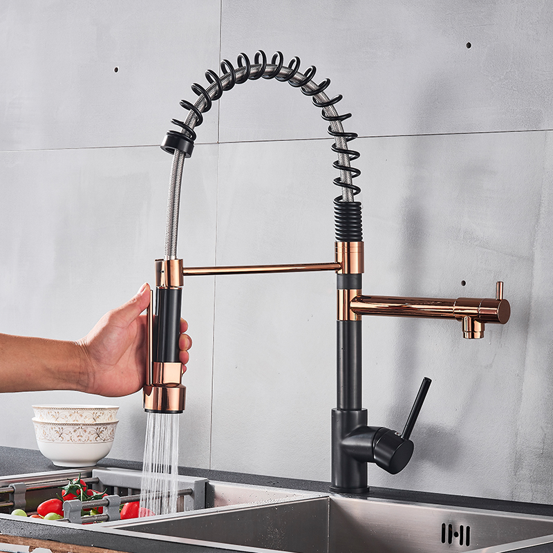 Vidric Black Rose Gold Kitchen Spring Faucet Pull Down Dual Spouts Single Handle Mixer Tap 360 Rotation Kitchen Faucet Mixer Tap