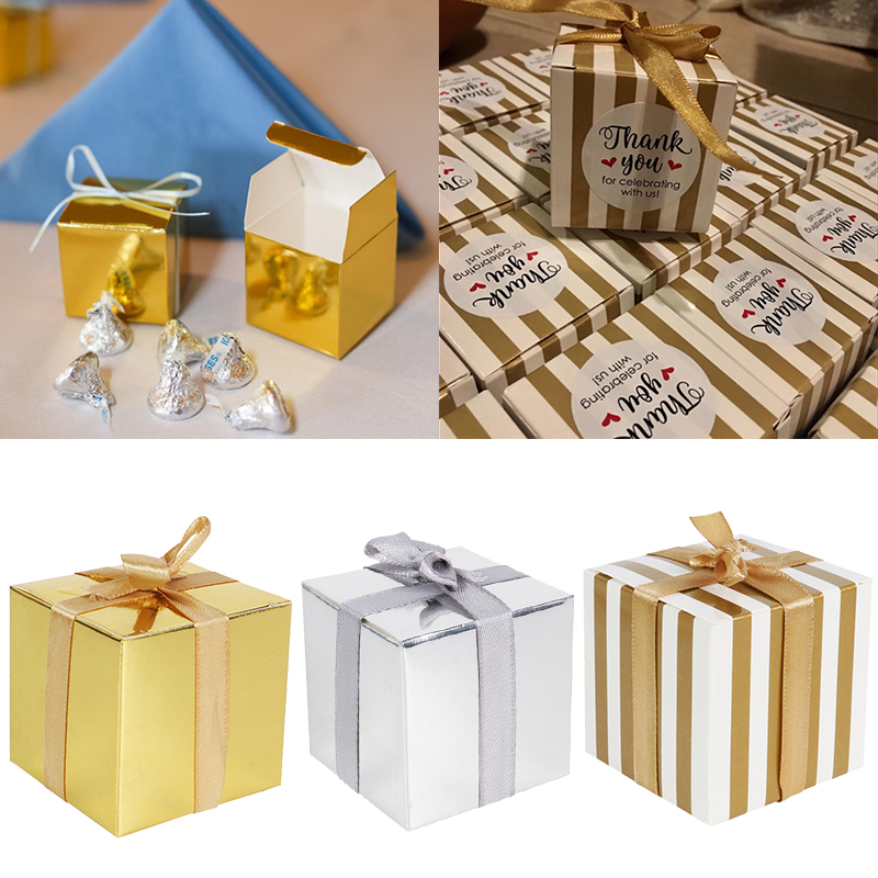 Wedding Decoration Small Gift Box Bulk Candy Boxes With Ribbons Gold Striped Box Party Favors Baby Shower Birthday Supplies
