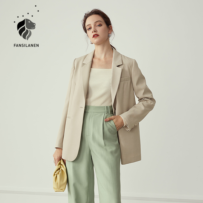 FANSILANEN Multicolour autumn winter casual blazer Women office lady black jacket blazer oversize Female purple blazer coat 2020