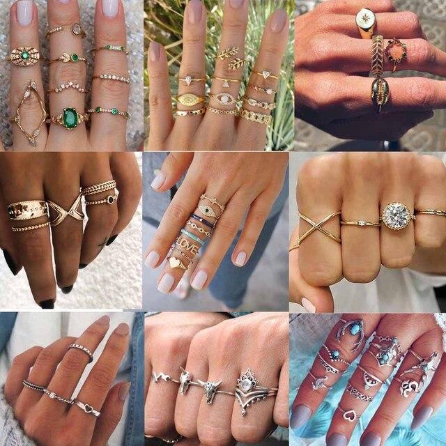 Böhmen Frauen Ringe Set Mode Kristall Metall Bösen Auge Blatt Crown Partei Schmuck Midi Finger Ringe Für Frauen Punk Boho schmuck