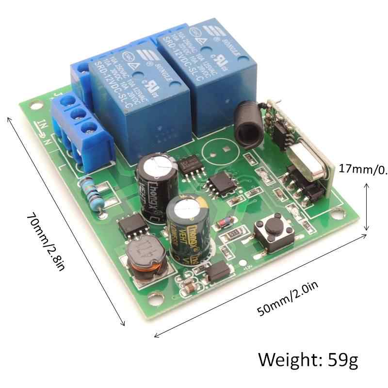 مفتاح التحكم عن بعد 433 ميجا هرتز للإضاءة ، الباب ، المرآب العالمي عن بعد التيار المتناوب 85 فولت ~ 250 فولت 110 فولت 220 فولت 2CH التتابع المتلقي والتحكم